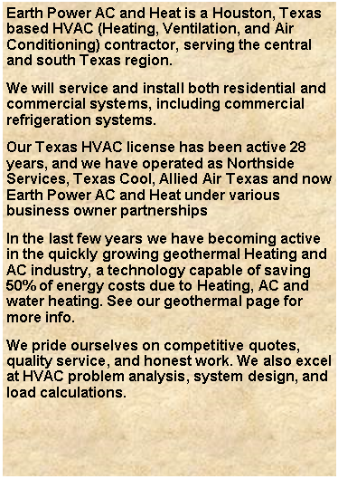 Earth Power AC Home page